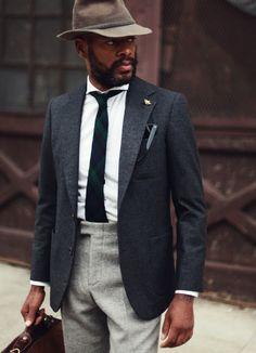 Wool grey black men fashion