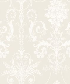 Josette - Laura Ashley Wallpapers - An ornate and elegant damask, featuring glamorous chandeliers and romantic rose bouquets in the stylish combination of white and dark cream. Other colour ways available. Please request a sample for true colour match. Hall Wallpaper, Cream Wallpaper, Kitchen Wallpaper, Damask Wallpaper, Designer Wallpaper, Pattern Wallpaper, Modern Victorian Decor, Laura Ashley Josette, Calming Colors