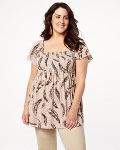 $39.99 feather print top | Shop Online at Addition Elle