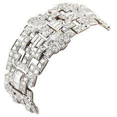 Impressive Art Deco 32 Carat Wide Diamond Platinum Bracelet For Sale at 1stdibs