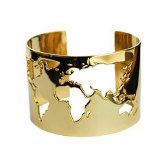 Express you wanderlust love with this sleek world map wrist cuff. Intricate cutout map on a wide metal band creates a simple and clean look. Looks great both day and night.