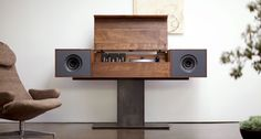 """Modern Record Console Jet Black Speaker Front For Sale on – The flagship of the Symbol audio line, the modern record console pays homage to """"all in one"""" console hifi's of the an idea whose time, we believe, – Heimkino Systemdienste Tv Stand Minimalist, Vintage Stereo Cabinet, Record Player Cabinet, System Furniture, Vinyl Record Storage, Lp Storage, Audio Room, Solid Wood Furniture, Living Spaces"""
