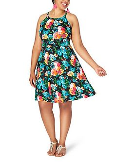 Plus Floral High Neck Skater Dress | rue21