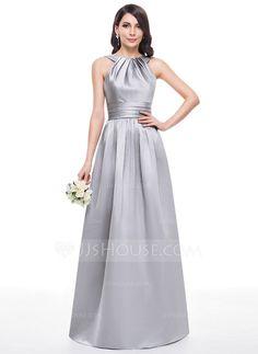 A-Line/Princess Scoop Neck Floor-Length Ruffle Zipper Up Regular Straps Sleeveless No Silver Spring Summer Fall Winter General Plus Satin Bridesmaid Dress
