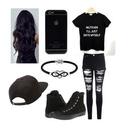 """""""black"""" by daysia930 ❤ liked on Polyvore featuring Glamorous, Converse, Jewel Exclusive, Vans, women's clothing, women's fashion, women, female, woman and misses"""