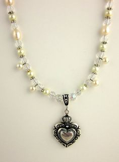 Beaded Heart Necklace Pendant Necklace Beadwork by ramonahall, $50.00