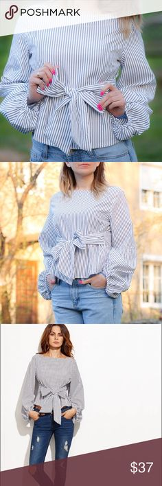 """I can SHIP IT TODAY !!  ! Bow / Casual and Trendy Blouse / Black and White Striped / Long Sleeve / Bow Tie Front / Trendy Blouse / M size. Bust: 37"""" waist: can be adjusted. This item is boutique brand, not zara. Just tag for exposure ! Zara Tops Blouses"""