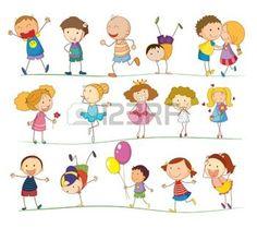 niños de palitos: Ilustración de un grupo de niños mixtos