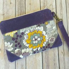 Purple Floral Clutch PursePurple ClutchModern by ditsybritishcraft