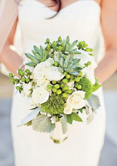 ranunculus, succulent, and hypericum berry bouquet by David Rohr Studio, photographed by Dave Richards