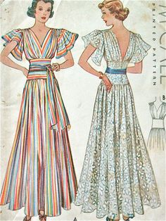 McCall 9321 | ca. 1937 Evening Dress summer long gown bridal lace flutter sleeves ethnic boho mexican stripes low cut bias deco red blue yellow sash belt 30s vintage fashion color illustration print ad pattern