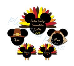 Thanksgiving Family Magnet Set with Mouse Heads for Disney Cruise Stateroom Door