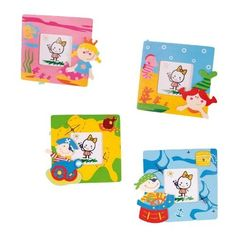 Four Hand Painted Wooden Picture Frames - Pirate and Mermaid Princess by OOTB. $14.29. Hand painted wooden frames. Frame size: 12 x 12 cm. Four designs. Photo size: 6 x 6 cm. Brighten any kid's bedroom with these colourful photo frames. Save 29%!