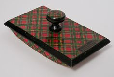 """SOLD OUT - Antique Victorian tartanware """"letter blotter"""" in Prince Charlie tartan.  Label reads """"from: the Douglas Room.  Stirling Castle."""" 5.5""""w X 3.75""""d X 2""""h  $395.00  contact: info@smwdesign.com for more information or to place an order."""