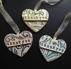 3 ceramic Thankyou tags - hanging decorations