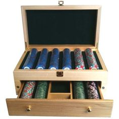 500 Wooden High End Poker Chip Case / Jewelry Box by Spinettis. $29.89. This beautiful wood case holds 500 chips. This case has a magnetic drawer that holds 200 of the 500 chips as well as having some storage compartments for cards and buttons/dice. Chips and cards not included.