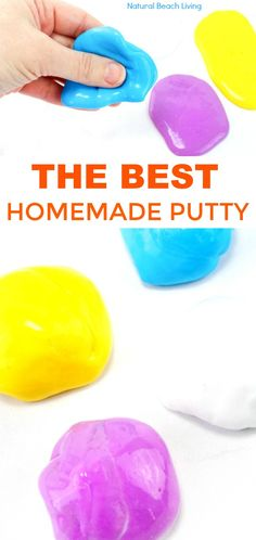 How to Make Putty - Easy Homemade Putty Recipe - Natural Beach Living Diy Silly Putty, Silly Putty Recipe, Homemade Putty, Homemade Art, Homemade Face Paints, Creative Activities For Kids, Creative Kids, Crafts For Kids, Creative Crafts