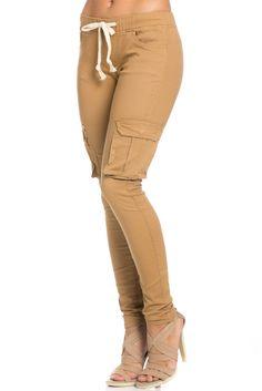 Mid Rise Skinny Wheat Cargo Pants