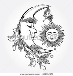 Hand drawn crescent moon with feathers and in the crown of leaves and sticks. Sleeping sun next to it. Isolated Vector illustration. Invitation element. Tattoo, astrology, alchemy, magic symbol.