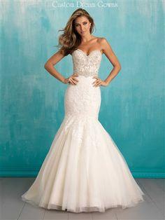 Sexy #Wedding Dress! Glamorous Crystal Beaded Lace on Tulle Over Satin Mermaid…