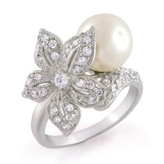 South Sea Shell Pearl Cocktail Rings 12mm with Flower CZ Diamond ...