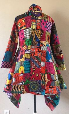 Wow Factor African Wax Print Patchwork Asymmetric Jacket Cotton Lined Corsage, African Fashion Dresses, Fashion Outfits, Women's Fashion, Outdoor Coats, Cozy Scarf, Ankara Dress, African Design, African Fabric