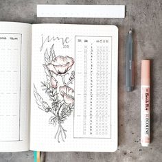 Bullet journal monthly habit tracker, flower drawing. | @lets.talk.about.bullet