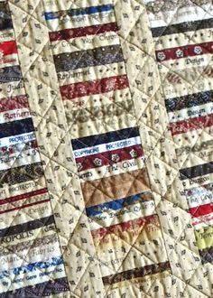 string quilt made with selvages from reproduction and Civil War lines of fabric
