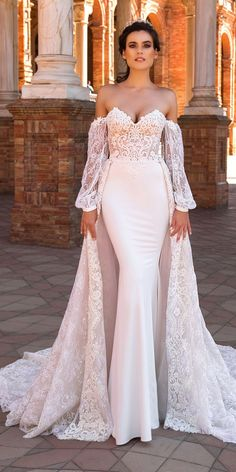 crystal design 2017 wedding dresses collection over skirt lace bridal dress with sleeves camilla