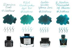 Dark Green and Dark Teal Fountain Pen Ink Comparison from JetPens
