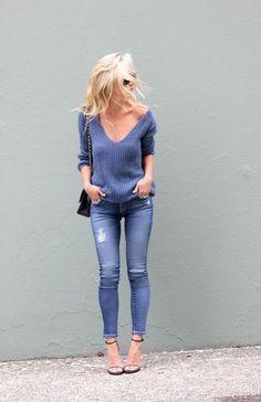 look monochrome bleu