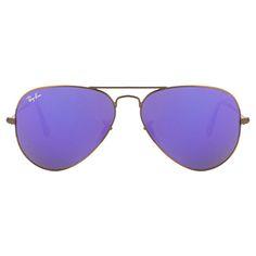 00b2ec3e699 Ray-Ban Bronze Brown Frame With Purple Mirror Lens Aviator Sunglasses