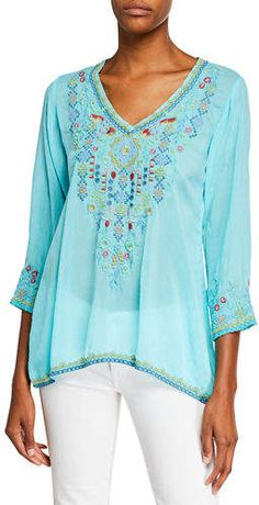 67c7246341b Johnny Was Plus Size Ryleigh V-Neck 3/4-Sleeve Georgette Blouse