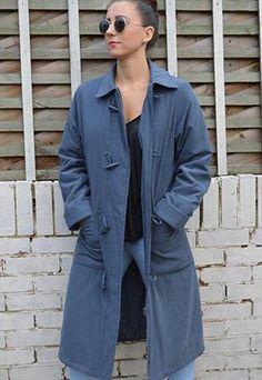 19fd1d982a2 ASOS Vintage blue grey duffle granny rain coat one size Asos Vintage