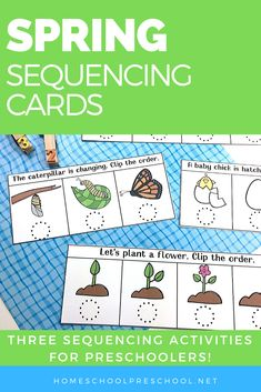 Kids will love ordering the events in this spring sequencing cards printable. This is a great way to introduce preschoolers to sequencing! #sequencecards #sequencingactivities #sequencingcards #homeschoolprek
