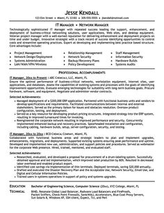 it manager resume samples