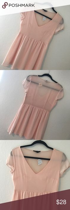 SHEER CHIFFON DRESS 💗Condition: New with tags. No flaws. No rips, holes pr stains. Color: blush pink.  💗Smoke free home 💗No trades 💗No returns 💗No modeling  💗Shipping next day 💗OPEN TO reasonable OFFERS  💗BUNDLE and save more Forever 21 Dresses Mini