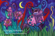 Spell caster Cat  ACEO Art Print  Cat Feline Art  by fairychamber