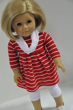 American Girl Doll Clothes Red and White Striped  by CircleCSewing