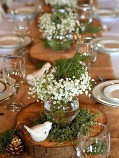 60 Extraordinary Winter Table Decoration You Can Make. Whether it be wedding table settings, black tie or prom, how to dress a table is an important detail to get right and it needn't cost you the e. Baby Shower Centerpieces, Table Centerpieces, Baby Shower Decorations, Wedding Centerpieces, Wedding Decorations, Winter Centerpieces, Centerpiece Ideas, Table Arrangements, Baby Decor