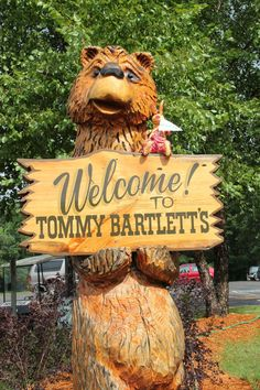Carved Saasy with Welcome Sign Chainsaw Carvings, Wood Carvings, Wisconsin Dells, Wood Art, Photo Booth, Statues, Old Things, Teddy Bear, Woodworking