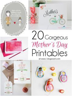 20 Gorgeous Mother's Day Printable Gifts, Tags, Cards and Coupon Books | www.1dogwoof.com