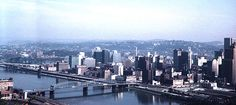 """STEEL TOWN USA: Pittsburgh, Pennsylvania, in all of its '61 glory! From the caption: """"Pittsburgh in 1961 from the bluffs on the west bank of the Ohio."""" Image courtesy Shorpy.com."""