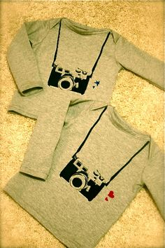 Camera stenciled shirts for the kids