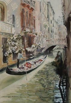 Sergiy Lysyy Venice Watercolor Pictures, Watercolor Art, Art Oil, City, Antiques, World, Artist, Decoupage, Painting