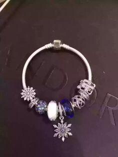 Tendance Bracelets  50% OFF!!! $239 Pandora Charm Bracelet Blue White. Hot Sale!!! SKU: CB01984  PA