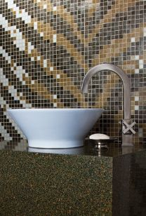 zebra trend glass mosaic with vessel bowl!   www.granitetransformations.com