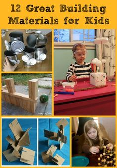 12 Great Building Materials for Kids -- fun items for kids to use as they engineer and create amazing structures!  Great intro to physics, architecture and engineering.
