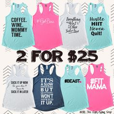 SALE - 2 For 25 - Jersey Racerback Tanks and Tees - S - 2XL