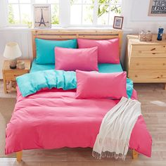 Students fashion variety colors bed sheet 4 piece Twin Size Bed Sheets, Queen Bed Sheets, King Bedding Sets, Bed Sheet Sets, Cotton Bedding, Linen Bedding, Cotton Fabric, Bed Linen, Blue Bedspread